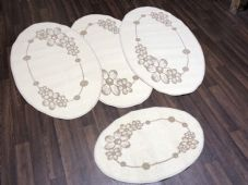ROMANY GYPSY WASHABLE  SET OF TOURER SIZE 67X120CM MATS/RUG CREAM/BEIGE NO SLIP